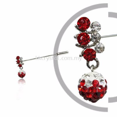 Pin Brooch 7031#, Red Light Siam, 2pcs/pack