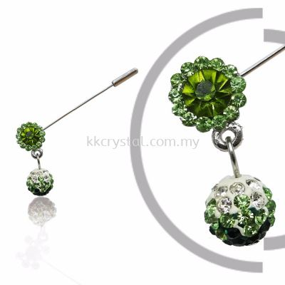 Pin Brooch 7039#, Green Olivine, 2pcs/pack