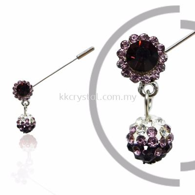 Pin Brooch 7039#, Purple Amethyst, 2pcs/pack