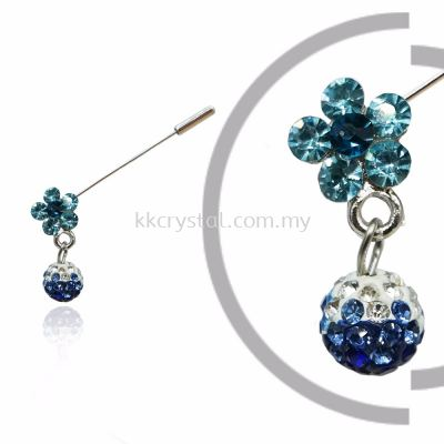Pin Brooch 7040#, Blue, 2pcs/pack