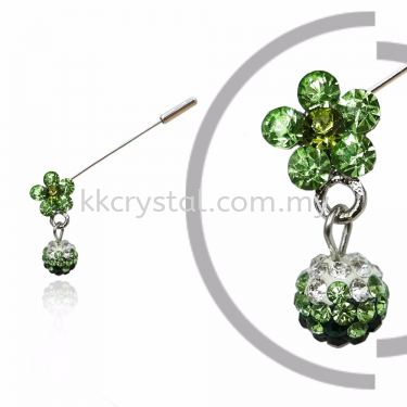 Pin Brooch 7040#, Green Olivine, 2pcs/pack