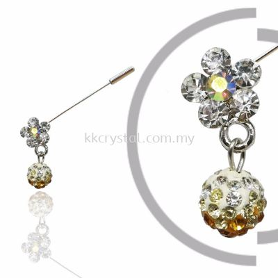 Pin Brooch 7040#, Gold Topaz, 2pcs/pack