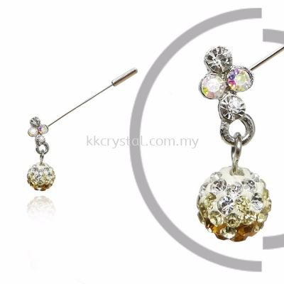 PIn Brooch 7046#, Gold Topaz, 2pcs/pack