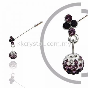 PIn Brooch 7046#, Purple Amethyst, 2pcs/pack