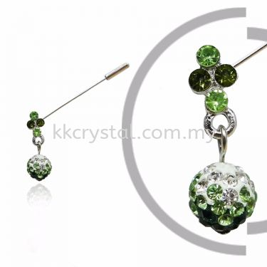 PIn Brooch 7046#, Green Olivine, 2pcs/pack
