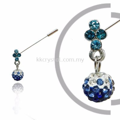 PIn Brooch 7046#, Blue, 2pcs/pack