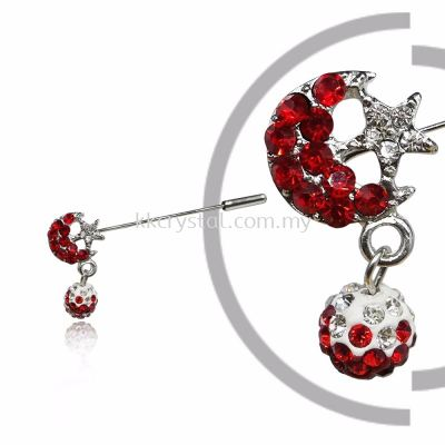 Pin Brooch 7046# (Star & Moon), Red Light Siam, 2pcs/pack