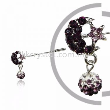Pin Brooch 7046# (Star & Moon), Purple Amethyst, 2pcs/pack