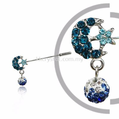 Pin Brooch 7046# (Star & Moon), Blue, 2pcs/pack