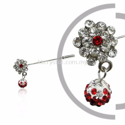 Pin Brooch 7047#, Red Light Siam, 2pcs/pack