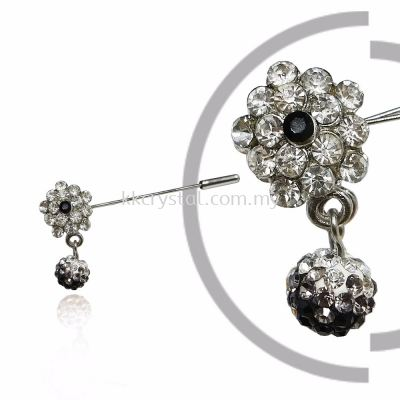 Pin Brooch 7047#, Black, 2pcs/pack