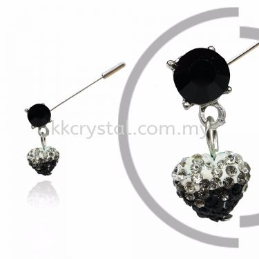 Pin Brooch 7024#_A, Black, 2pcs/pack