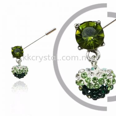 Pin Brooch 7024#_A, Green Olivine, 2pcs/pack