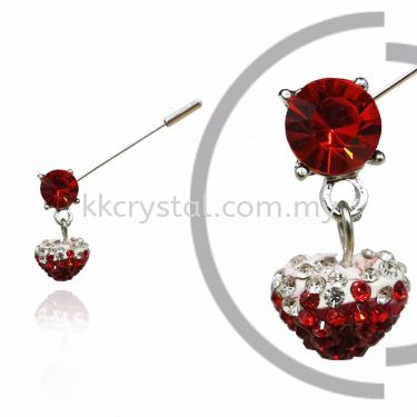 Pin Brooch 7024#_A, Red Light Siam, 2pcs/pack