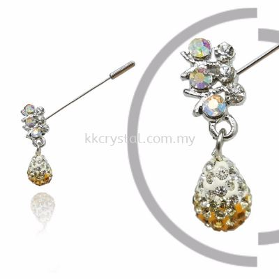 Pin Brooch 7032#_A, Gold Topaz, 2pcs/pack