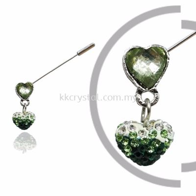 Pin Brooch 7037#_A, Green Olivine, 2pcs/pack