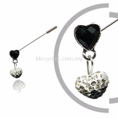 Pin Brooch 7037#_A, Black, 2pcs/pack