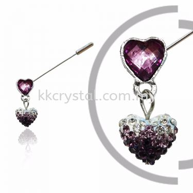 Pin Brooch 7037#_A, Purple Amethyst, 2pcs/pack