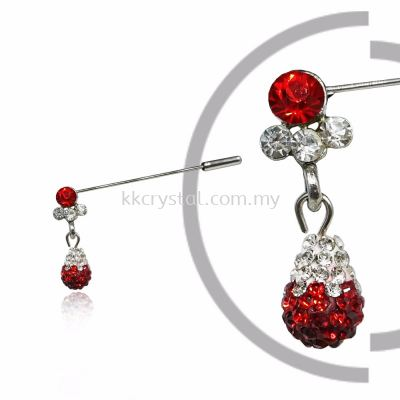 Pin Brooch 7045#_A, Red Light Siam, 2pcs/pack