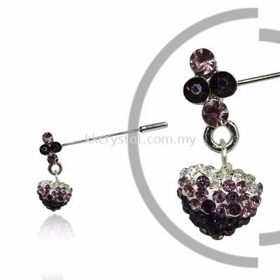 Pin Brooch 7046#_A, Purple Amethyst, 2pcs/pack