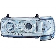 FJ80-90 Head Lamp Crystal Chrome W/Projector + Rim +LED