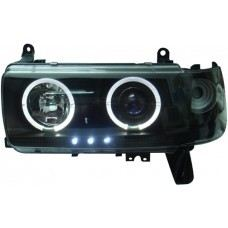 FJ80-90 Head Lamp Crystal Black W/Projector + Rim + LED