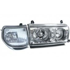 FJ80 Head Lamp Crystal W/Rim + Corner Lamp