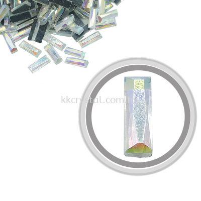 Flatback Hotfix 604, Rectangular (Multi Faceted), 4x12mm, Crystal AB, 360pcs/pack