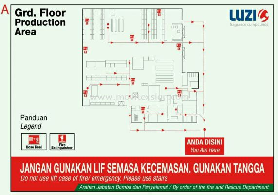 floor plan for factory/building or workshop Signage area for your safety evacuation route direction sign with map layout for yours plantation direction signboard.(click for more detail)