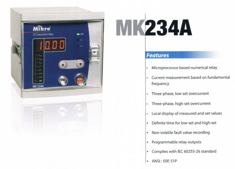 MIKRO MK234A DEFINITE TIME OVERCURRENT RELAY Mikro  Protection Relay