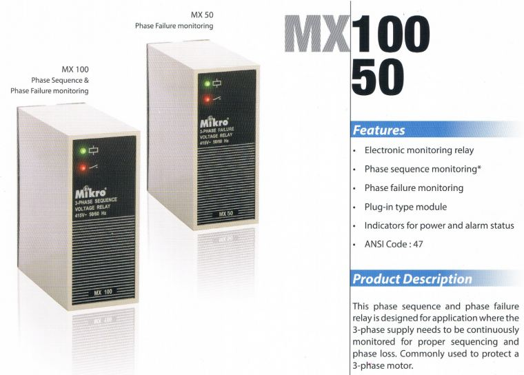 MIKRO MX100-400 3-PHASE SEQUENCE VOLTAGE RELAY Mikro  Protection Relay