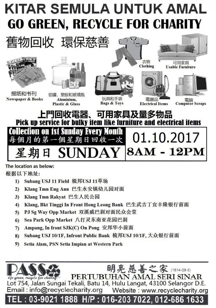 01.10.2017 Sunday P.A.S.S. Mobile Collection Centers