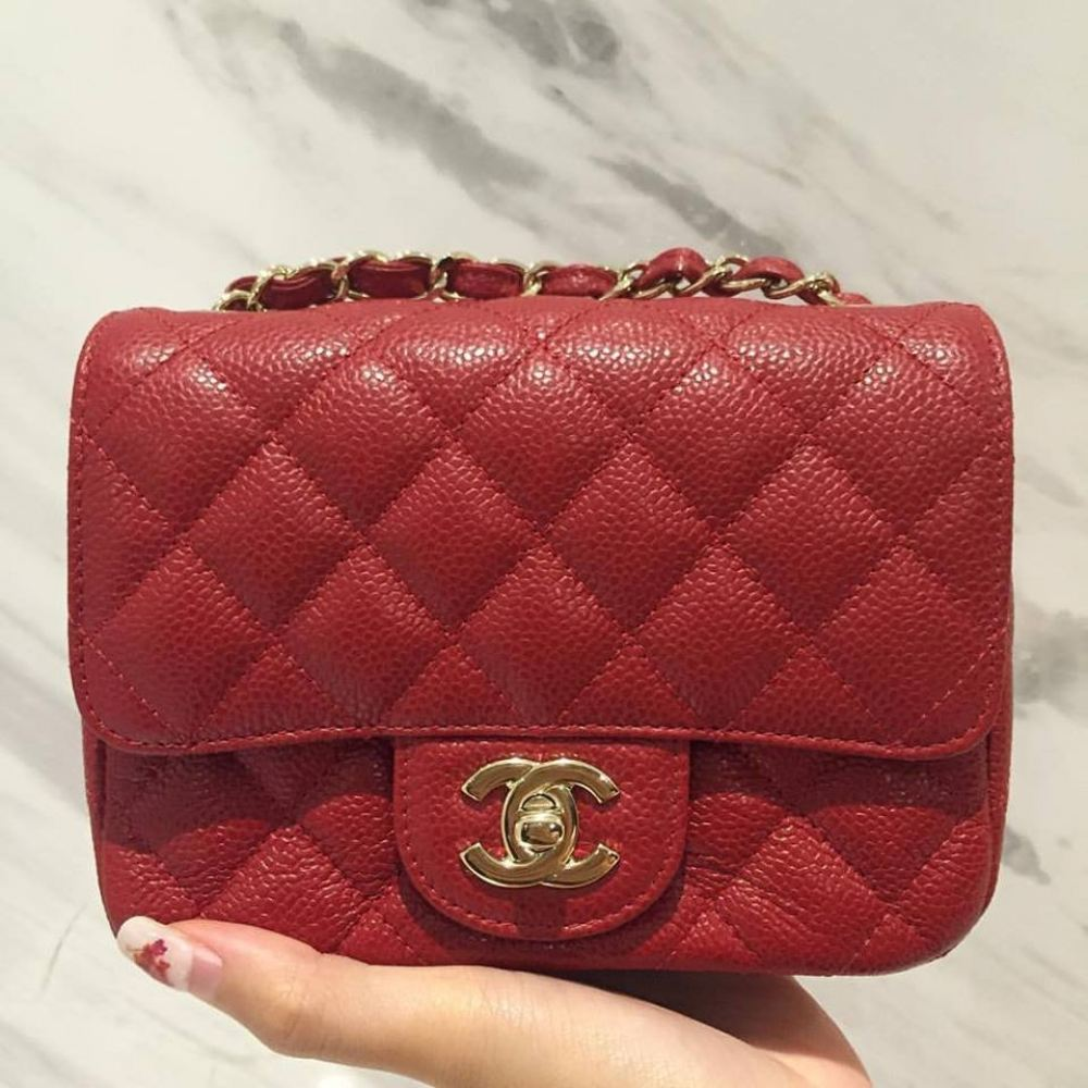 0a9d72b16f11 SOLD) Chanel Classic Mini Square Red Caviar in GHW Chanel Kuala ...