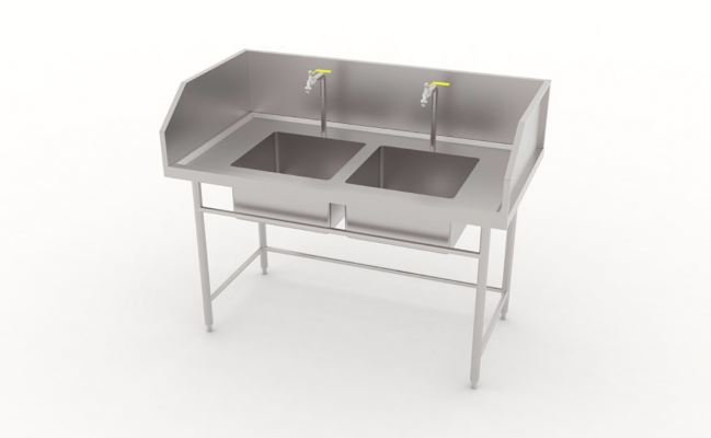 Double Bowl Sink Table With Border Ledge