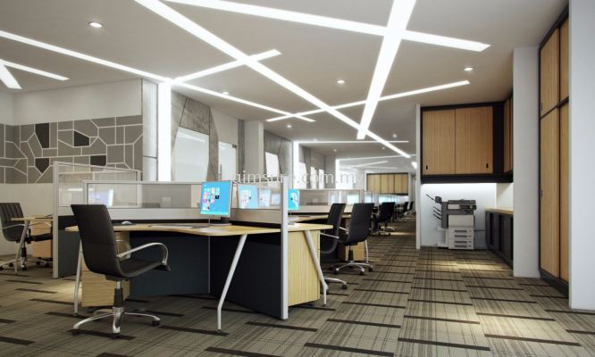 Office rnovation with ceiling and floor design