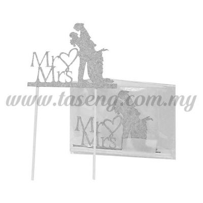 Cake Topper *MR&MRS SILVER (CT-WD-02S)