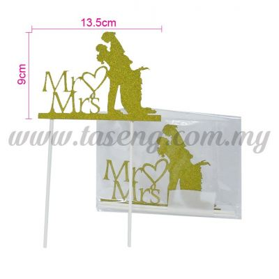 Cake Topper *MR&MRS GOLD (CT-WD-02G)