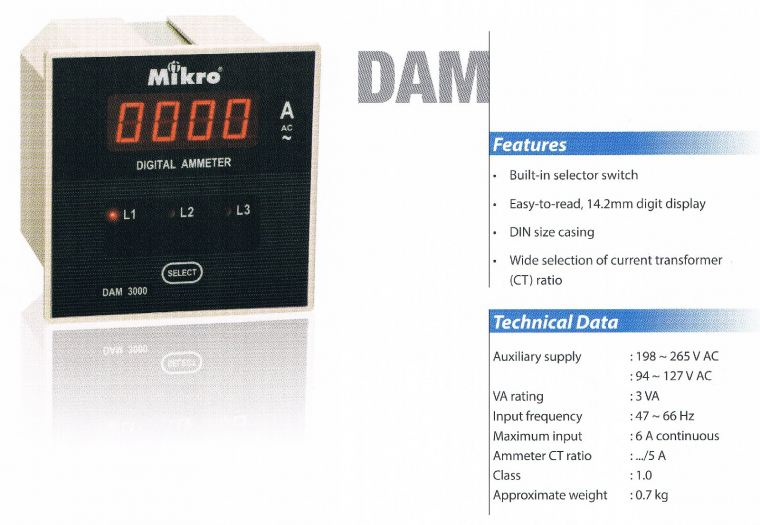 MIKRO DAM3000 AMPMETER WITH SELECTOR (600A~5000A) Mikro  Protection Relay