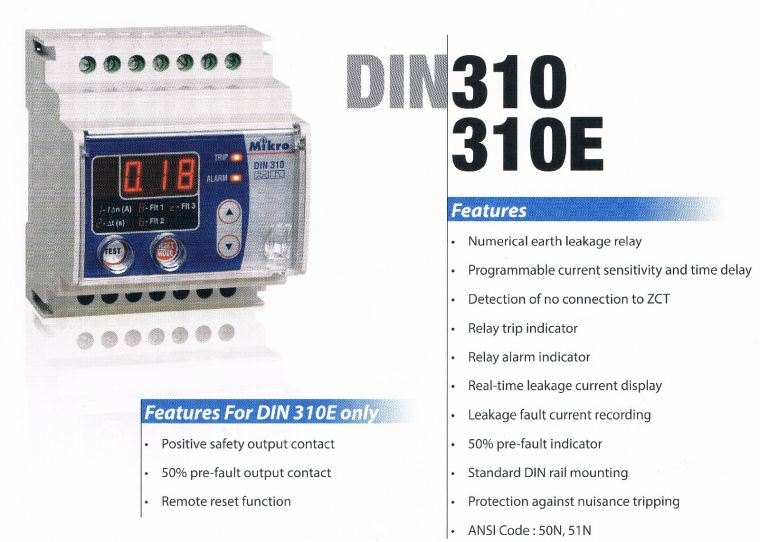 MIKRO DIN310 DIN RAIL EARTH LEAKAGE RELAY Mikro  Protection Relay