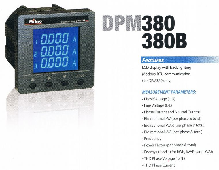 MIKRO DPM380B-415AD DIGITAL POWER METER : 90~415VAC OR 100~DC300V Mikro  Protection Relay