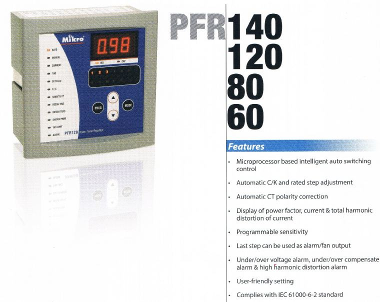 MIKRO PFR140&120&80&60 POWER FACTOR REGULATOR  Mikro  Protection Relay