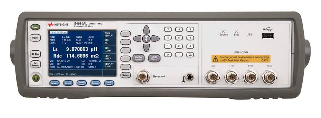 Precision LCR Meter 20Hz to 300kHz/500kHz/1MHz, E4980AL