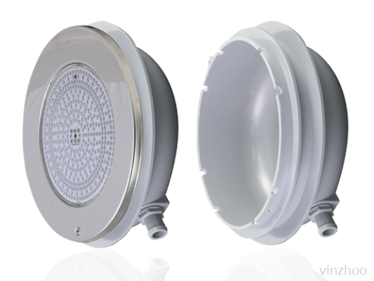 Emaux EL-H200-252 S/S 304 Light with Housing, 441 LEDs Warn White-20W&12V , 785LUX-261mmDIA, 98.5mm Thickness-Recess