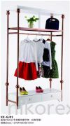 23819RG-GJ01 GARMENT RACK WITH SHELF & CABINET -ROSE GOLD STAINLESS STEEL BOUTIQUE RACKS