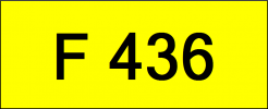 Number Plate F436 Rare Classic Plate