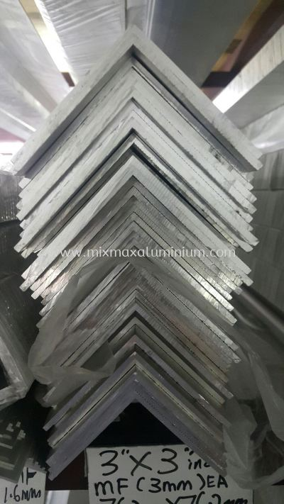 Aluminium Equal Angle Bar 76.2mm x 76.2mm x 3mm(T) x 6.1M(L)