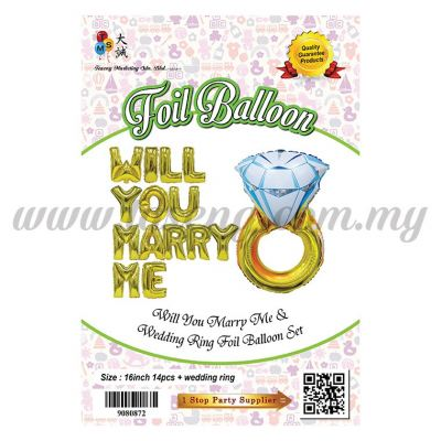 Will You Marry Me + Ring Foil Balloon Set (FB-3996)