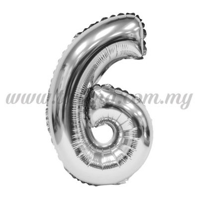 16inch Foil Balloon Number 6 - Silver (FB-16-6S)
