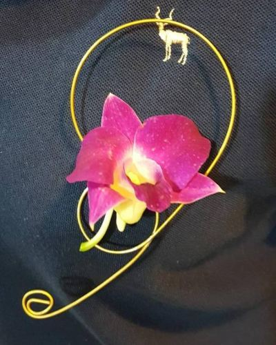 Orchid Pom Corsage (CC-013)
