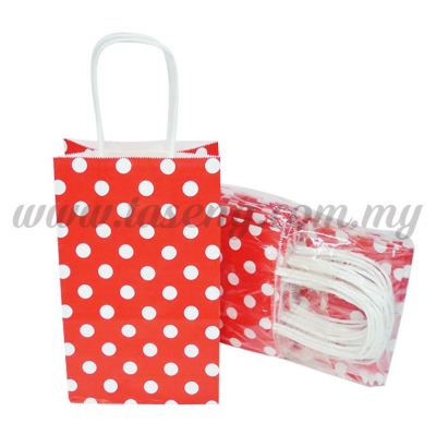 Polka Dot Kraft Handle Paper Bag -Red  1pack *10pcs (RPB-PD2-R)
